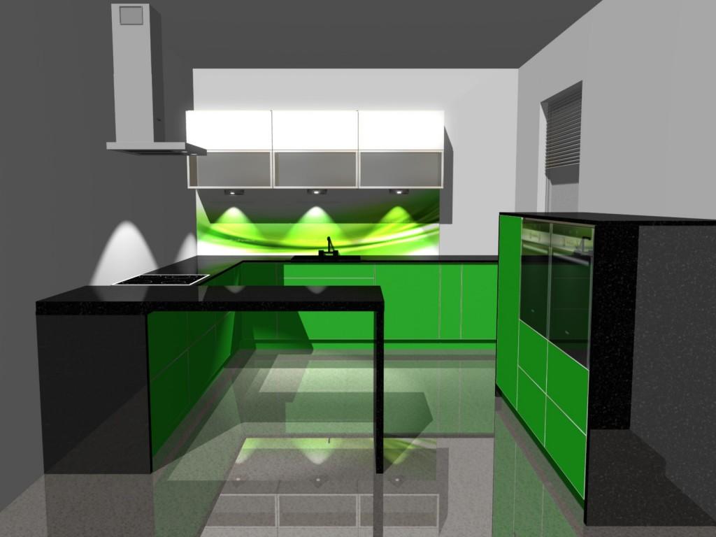Projekty kuchni zielonej z grafiką