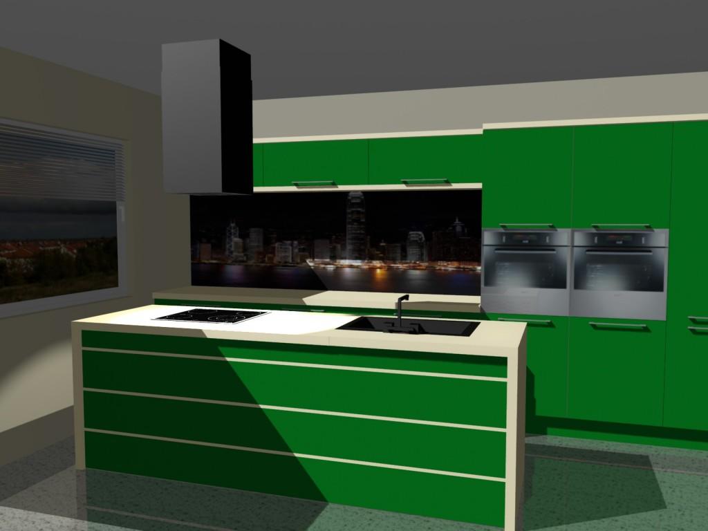 Projekty kuchni zielonej z wyspa i okapem