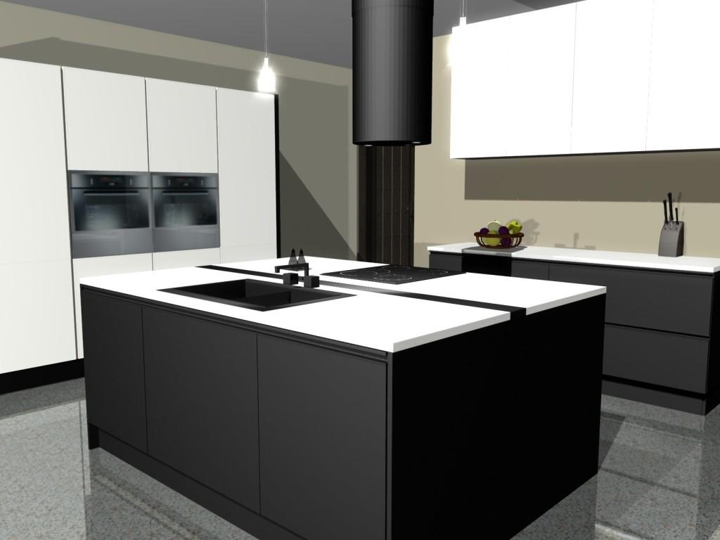 Czarno biała kuchnia -> Kuchnia Z Wyspa Koszt