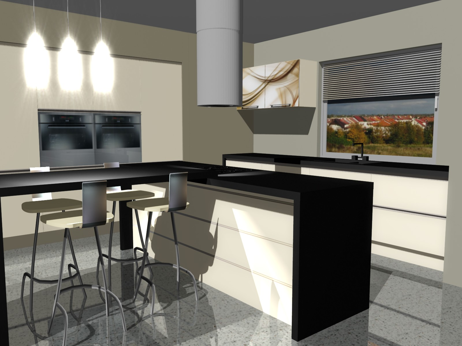 Projekty wyspy w kuchni -> Kuchnia Okap Wyspa