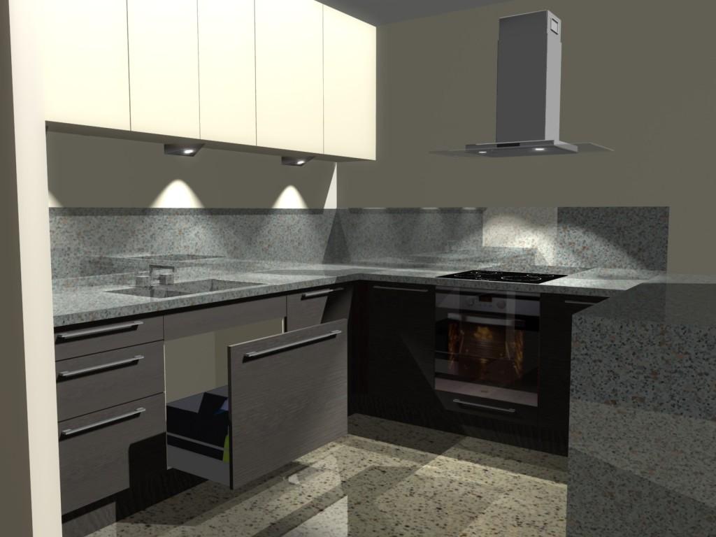 Mała kuchnia, wanilia, barek