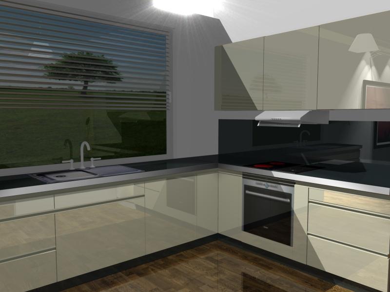 projektowanie kuchni, zlew pod oknem, krem