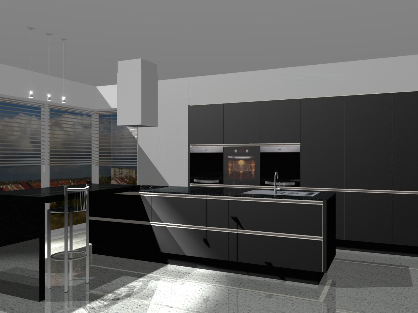 kuchnia w salonie czarna  Projekty i aranżacje wnętrz   -> Kuchnie W Salonie