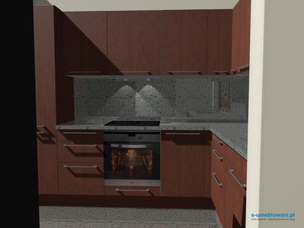 projekt kuchni z blatem kamiennym, fronty mahoń