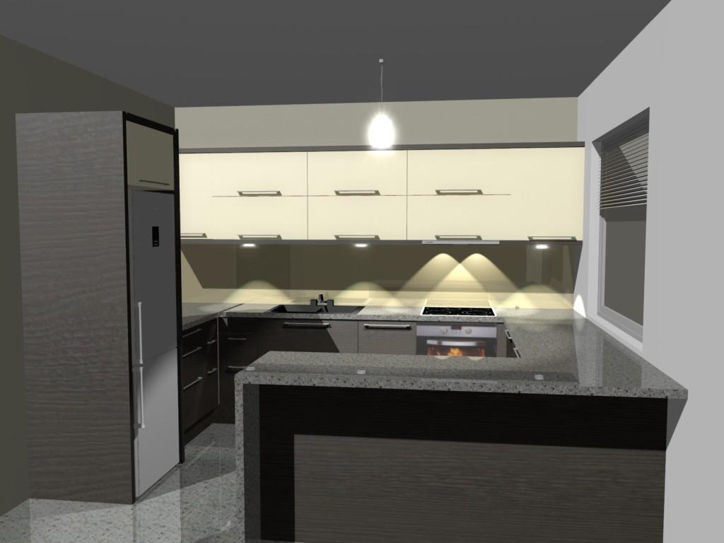 projekt kuchni z blatem kamiennym, barek