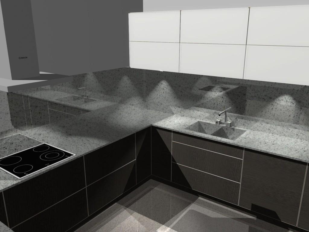 projekt kuchni z blatem kamiennym, okap wertykalny