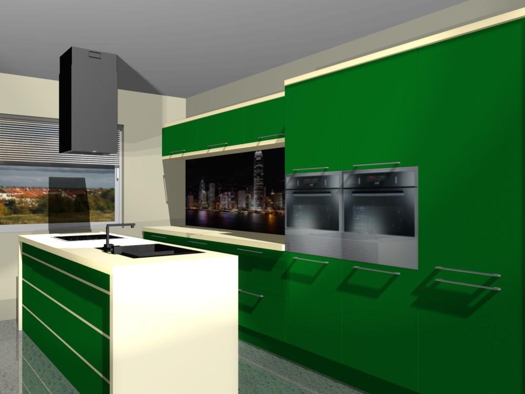 projekt kuchni zielonej z jednym oknem i wyspą