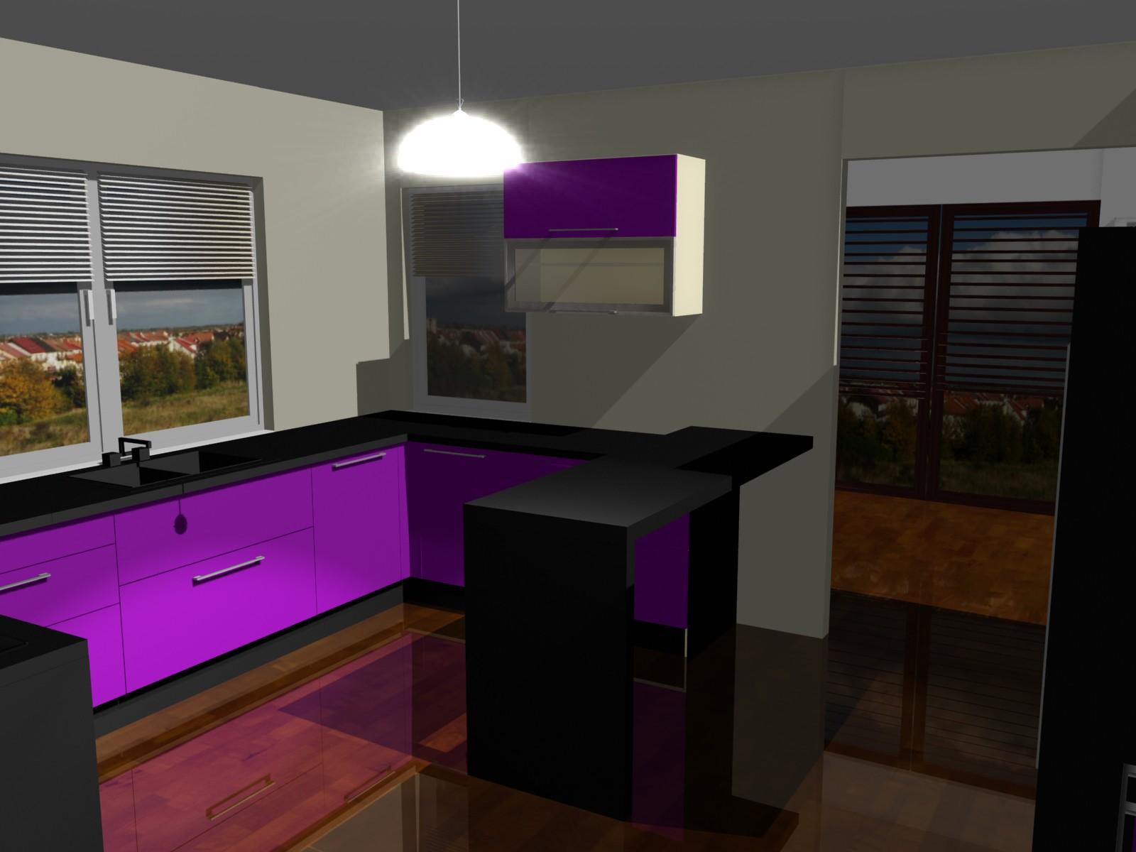 projekty kuchni fioletowej (10)  Projekty i aranżacje wnętrz -> Kuchnie W Fiolecie