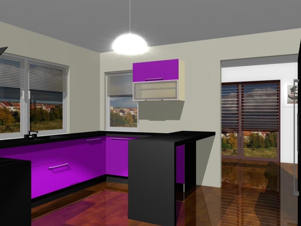 Projekty kuchni w fiolecie i salonem przejściowym