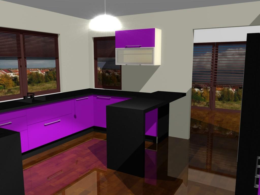 fiolet, drewniana podłoga, barek