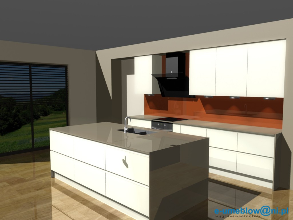 projekty kuchni otwartej z blatem błyszczącym