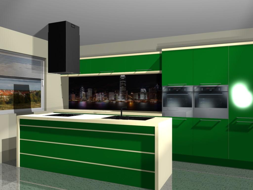 Projekty kuchni zielonej z grafika miasta