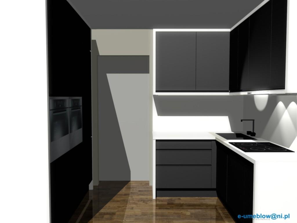 Czarno-biała kuchnia, zlew w narozniku