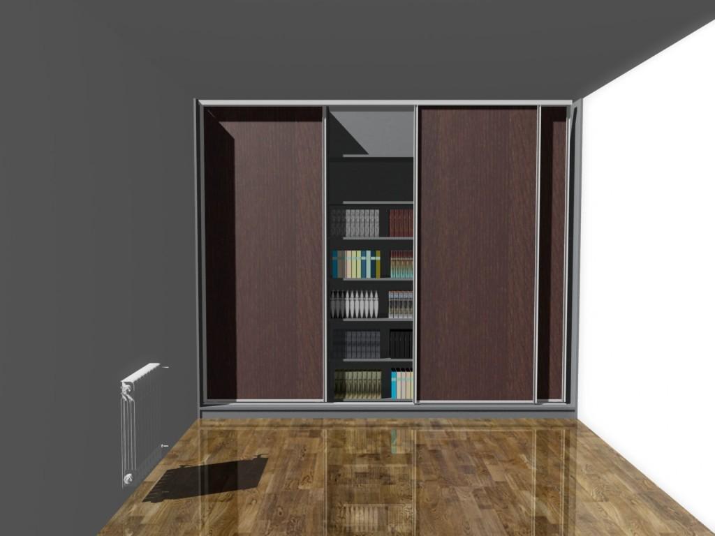 Projekt szafy na książki z drzwiami przesuwnymi
