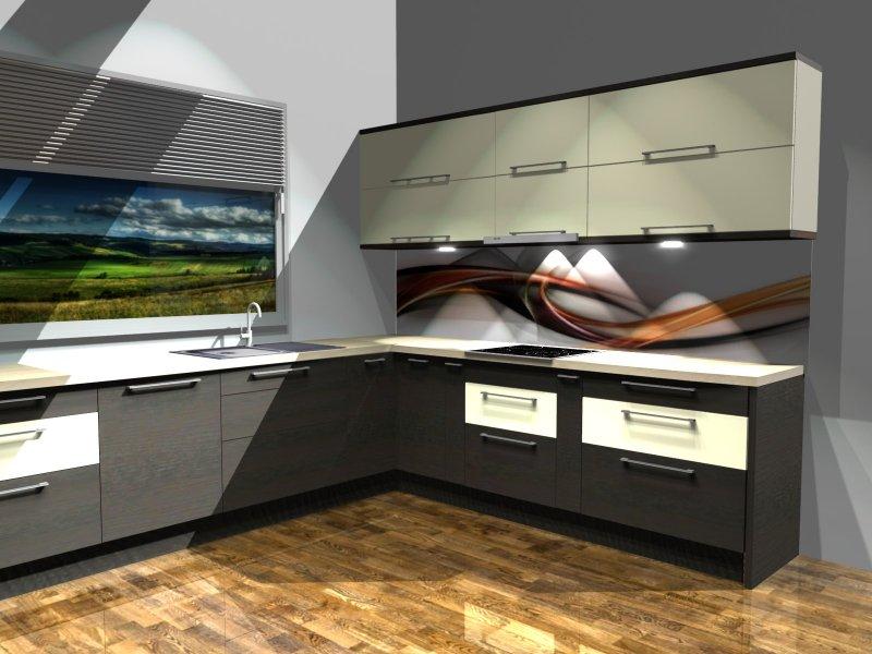 Projekty kuchni w kolorze wenge z wanilią i fototapeta pomarańczową