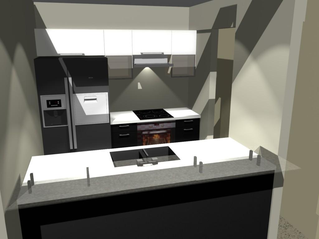 mała kuchnia, lodówka side by side