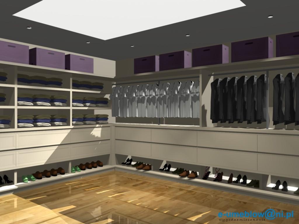Projekt garderoby kremowej, półki na buty, szuflady na krawaty,