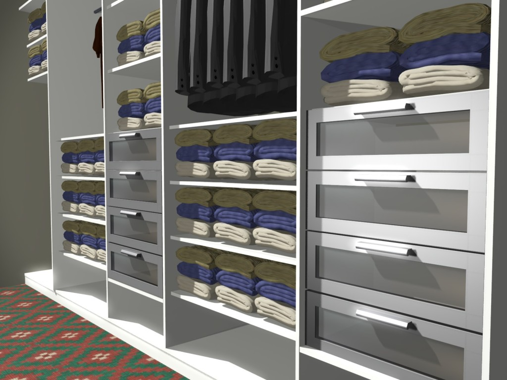 szuflady w garderobie