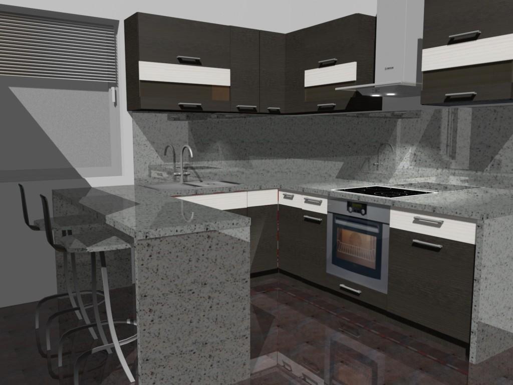 projekt kuchni małej, wenge, kam, barek