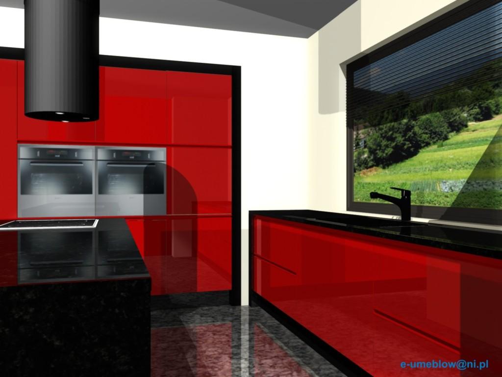 Czerwona kuchnia, półwysep, czarne blaty
