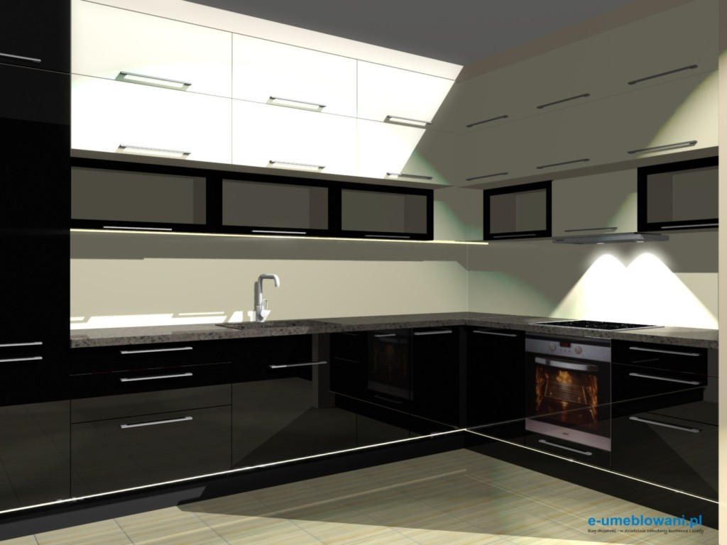 Czarno biała kuchnia -> Kuchnia Biala Szafki Do Sufitu