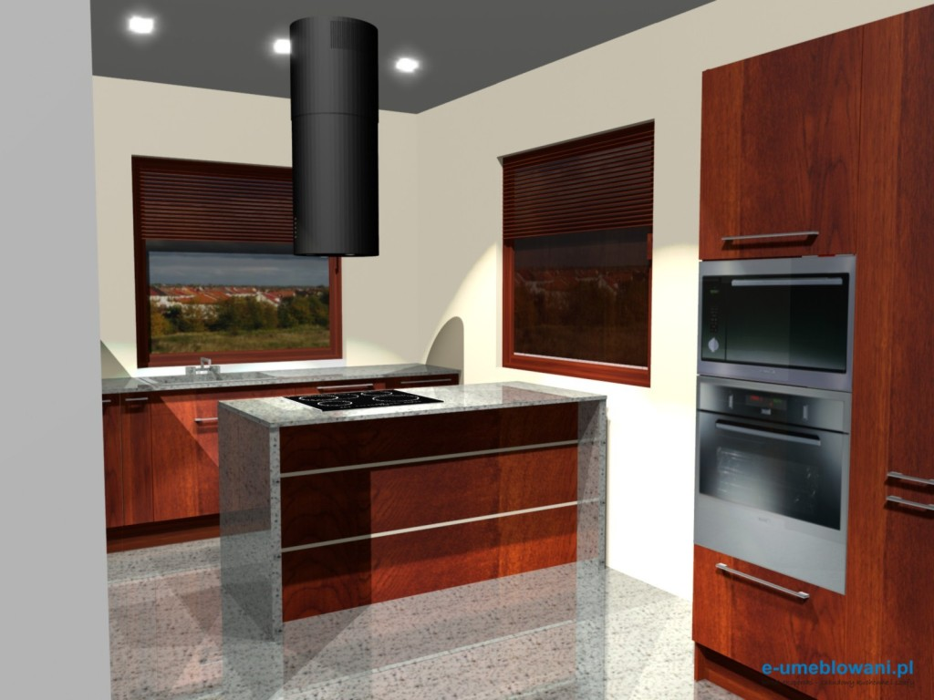Kuchnia z dwoma oknami, półwysep