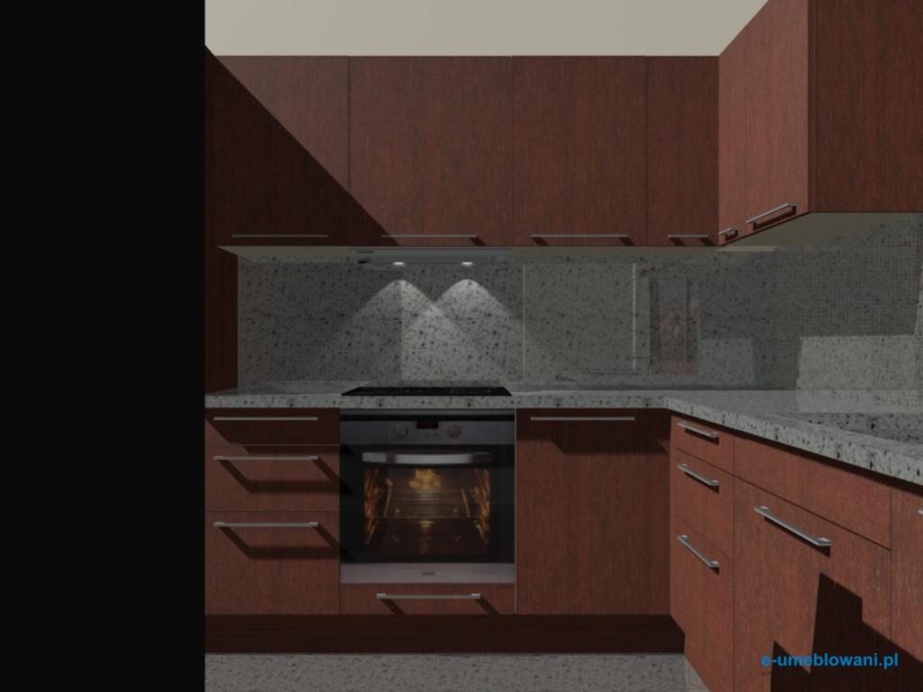 projekty kuchni mahońm blat kamienny, kamień na ścianie