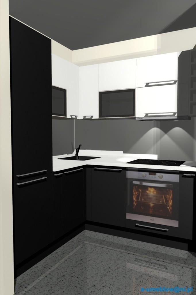 biało - czarna kuchnia, mała