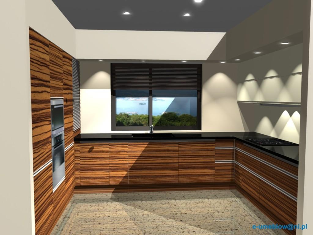 Projekty nowoczesnej kuchni otwartej beż z zebrano