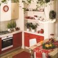 mała kuchnia, czerwona