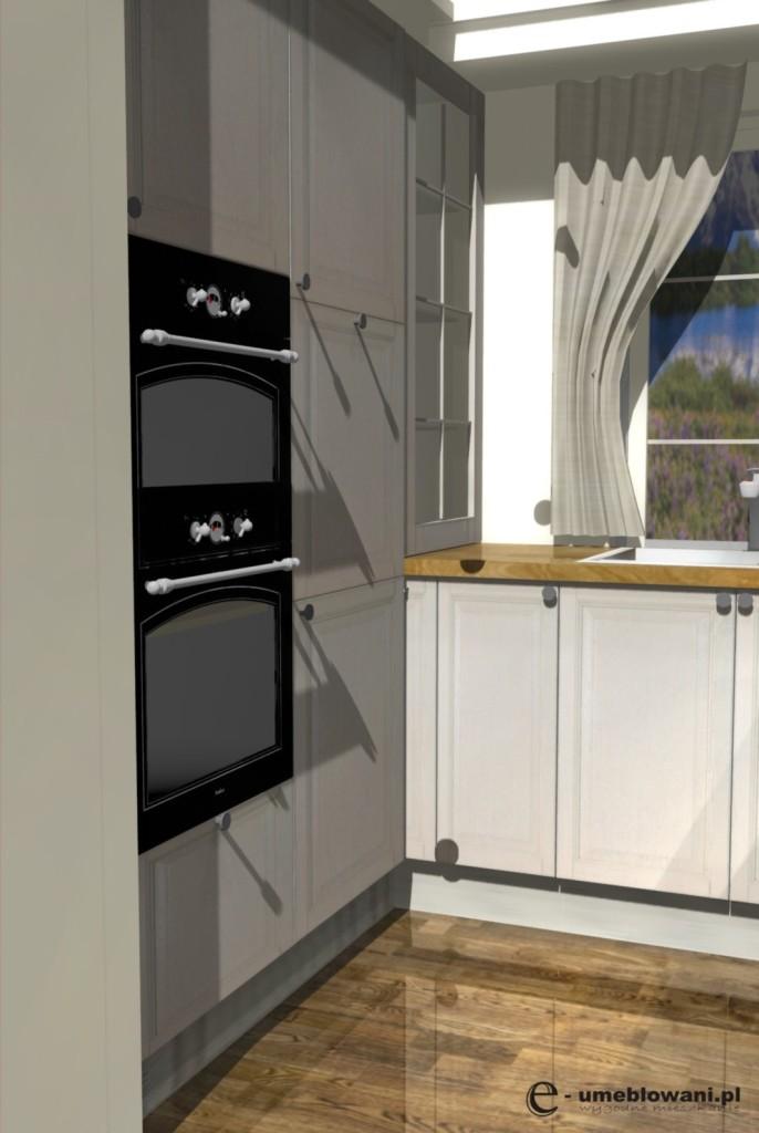 kuchnie w stylu country, witryny, jedno okno