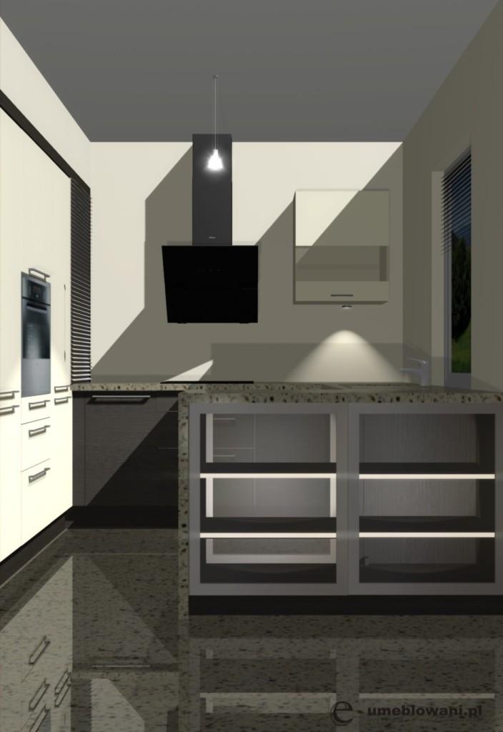 projekt kuchni otwartej, przeszklony barek z oświetrleniem, wege