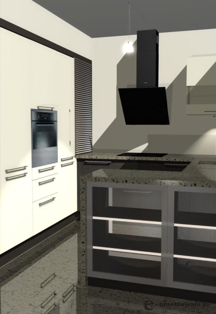 projekt kuchni otwartej wanilia, wenge, blat akmienny, szafki z witrynami