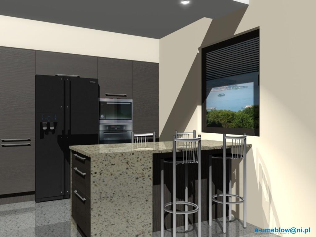 projekt kuchni z lodówka side by side