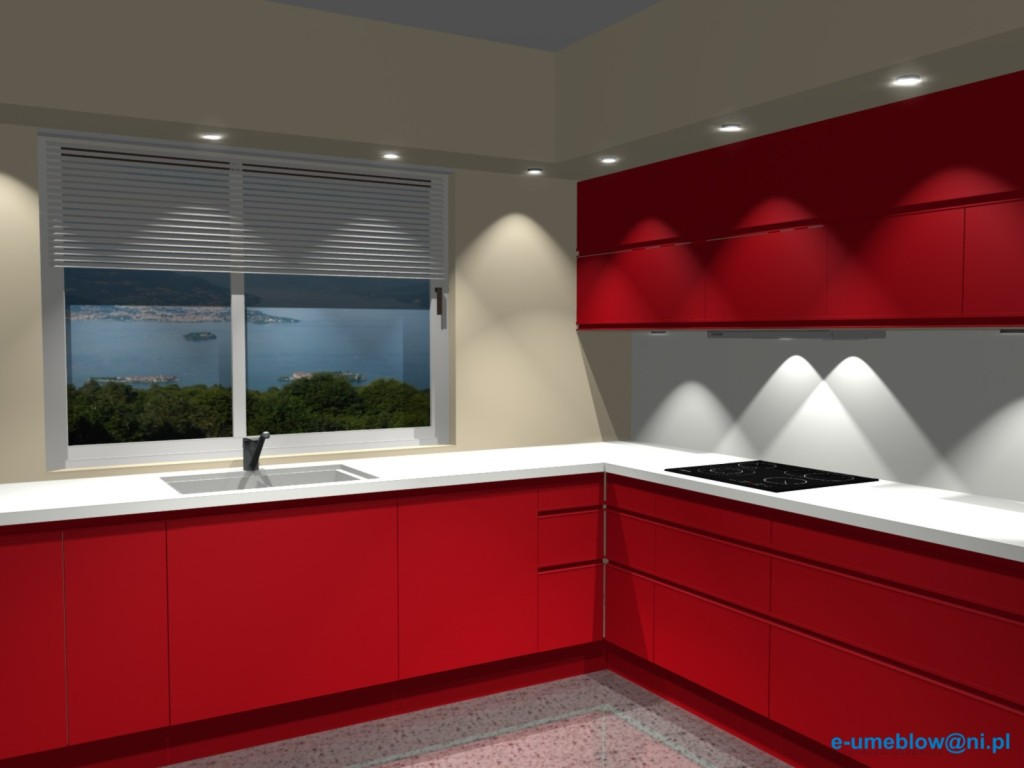 Czerwona kuchnia  Czerwień rewolucjonizuje kuchnię -> Kuchnia Angielska Oświetlenie