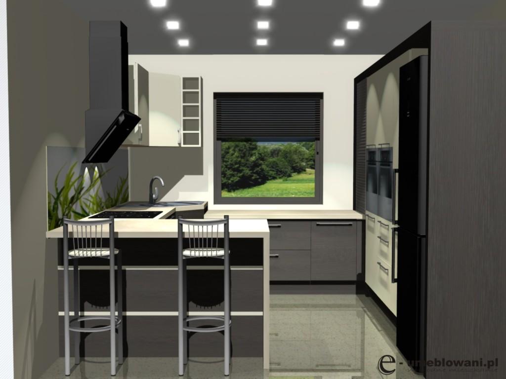 Małe projekty kuchni, kuchnia zjednym oknem, barek, fototapeta na ścianie, zlew narożny