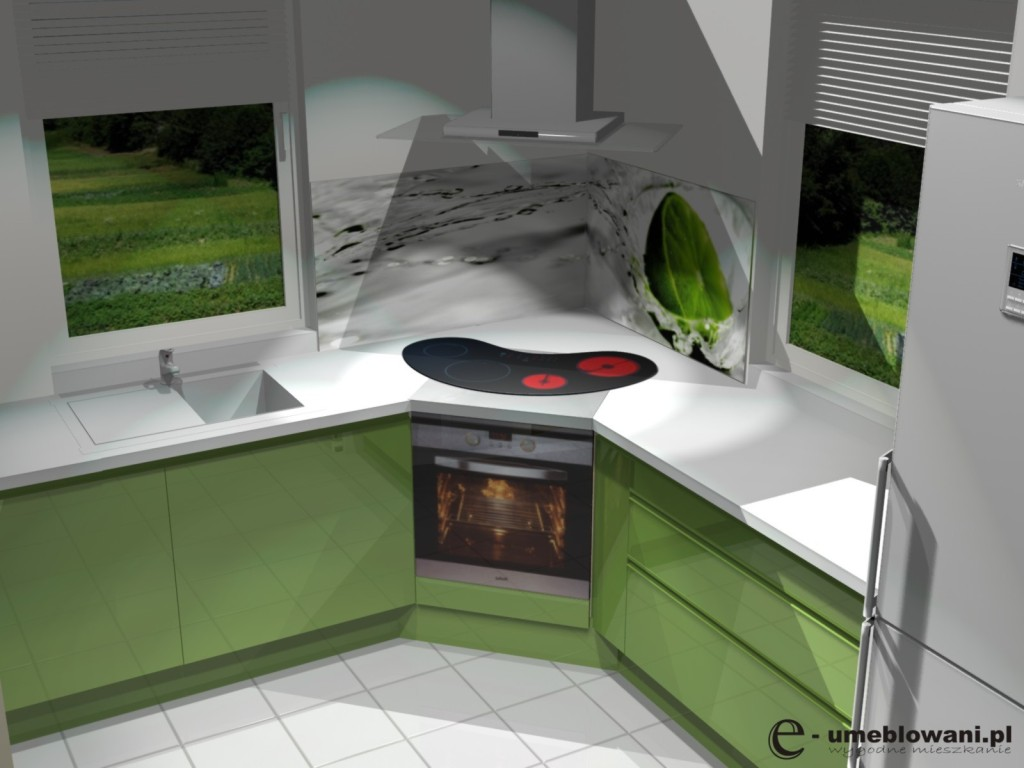 Projekt kuchni z dwoma oknami -> Kuchnia Z Okapem Teleskopowym