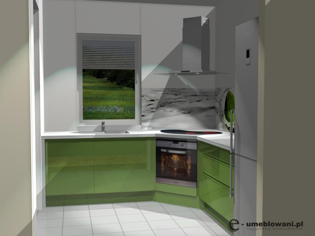 projekt kuchni z piekarnikiem w narożniku