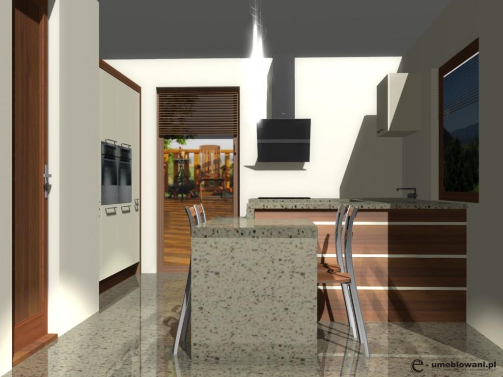 projekt kuchni z polwyspem
