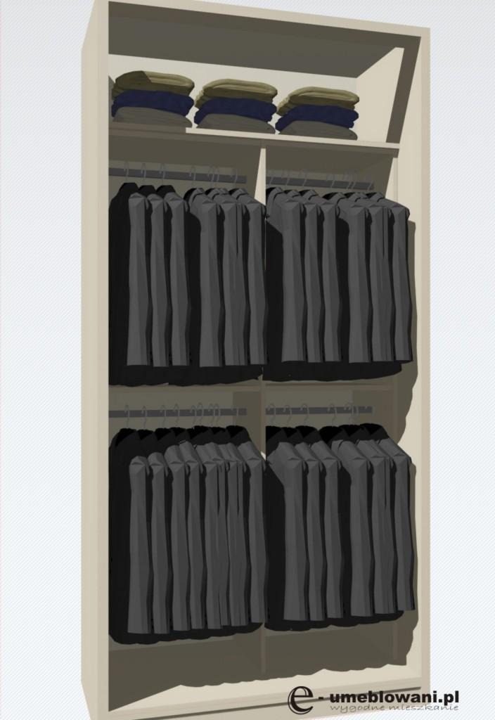 wnętrze szaf, same drązki na wieszanie ubrań