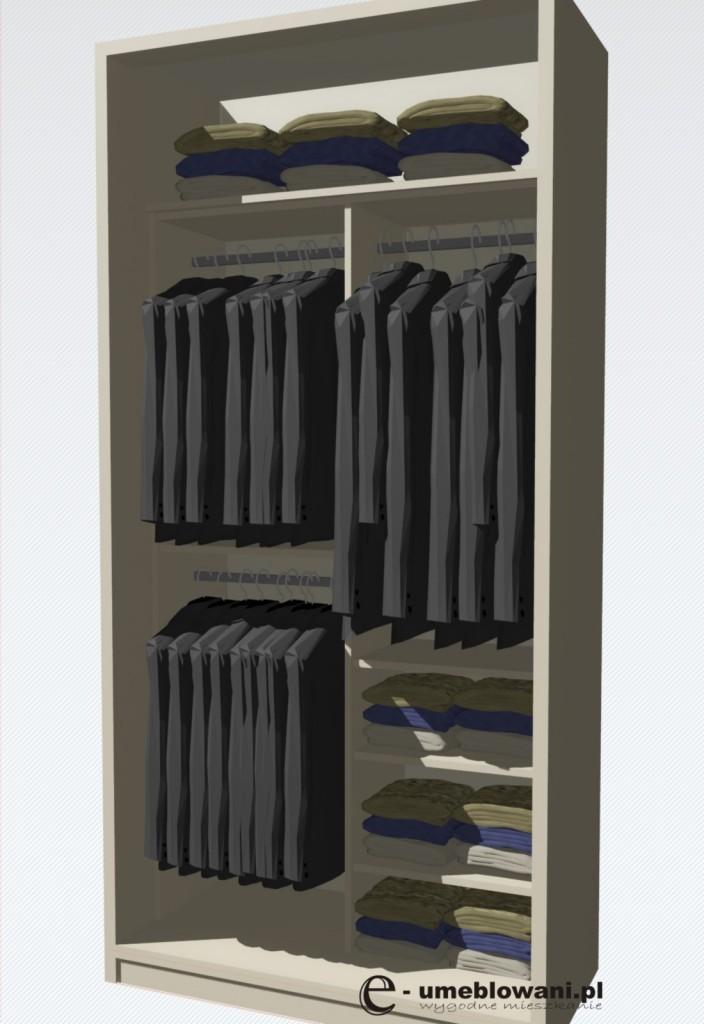 wnętrze szafy, drążki na wieszanie, półki na układanie ubrań