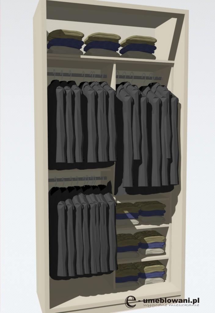 wnętrze szafy, drążki na wieszanie, półki na układanie