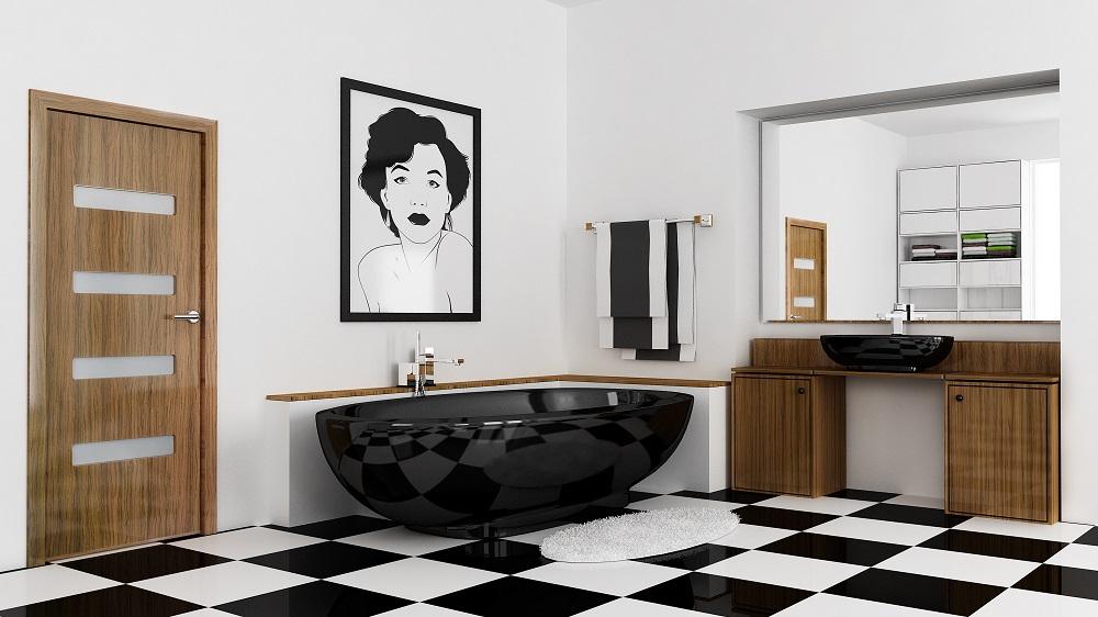 łazienka, czarna wanna, Drzwi z wysokim połyskiem