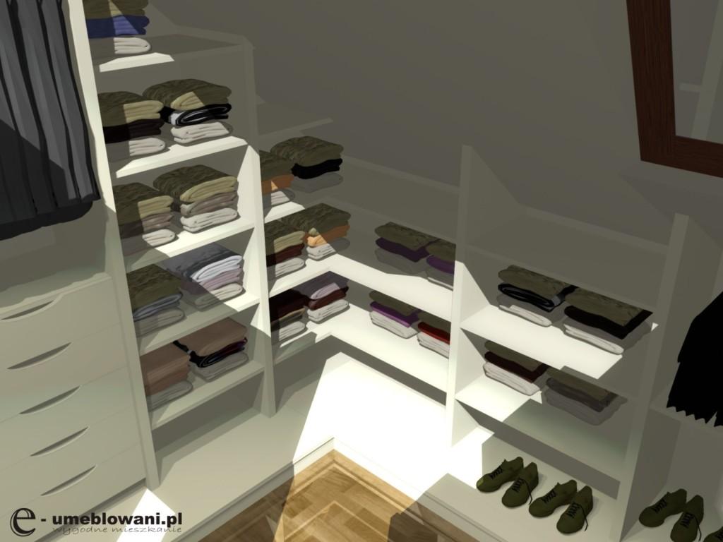 garderoba, skos, aranżacje garderoby ze skosem