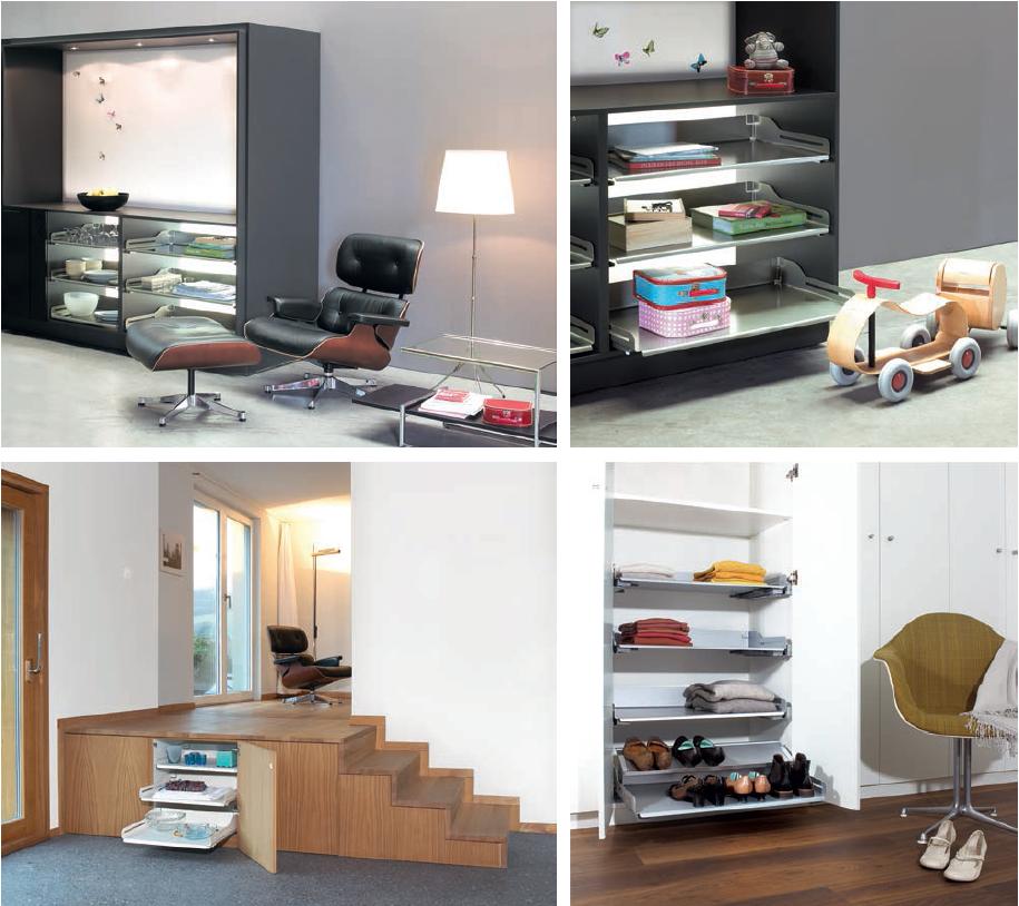 salon, kuchnia, półki w salonie, półki w kuchni, Nowoczesne rozwiązania w szafkach kuchennych