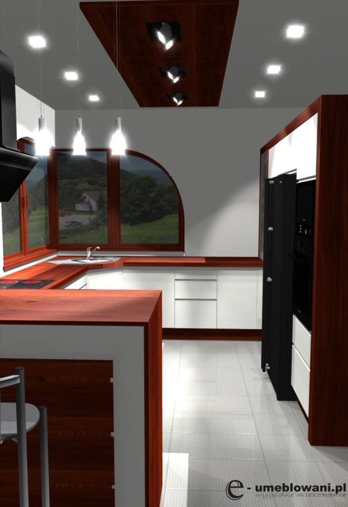 Projekt kuchni z oknem narożnym