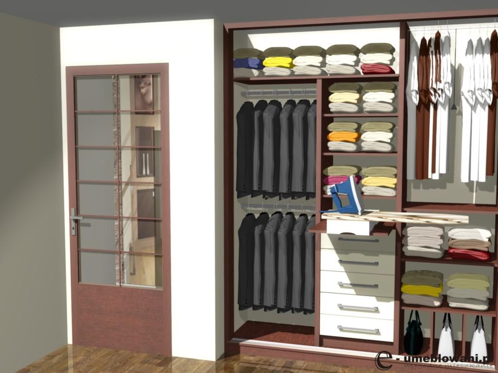 projekt szafy przesuwnej z deską do prasowania