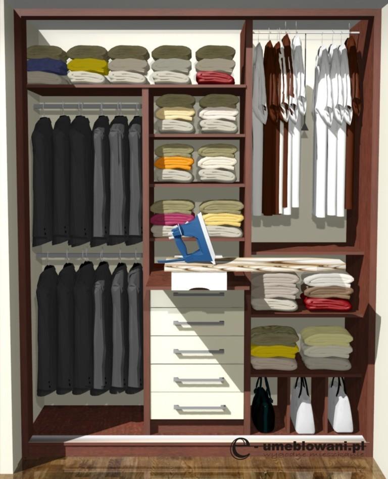 projekt szafy z deską do prasowania i żelazkiem