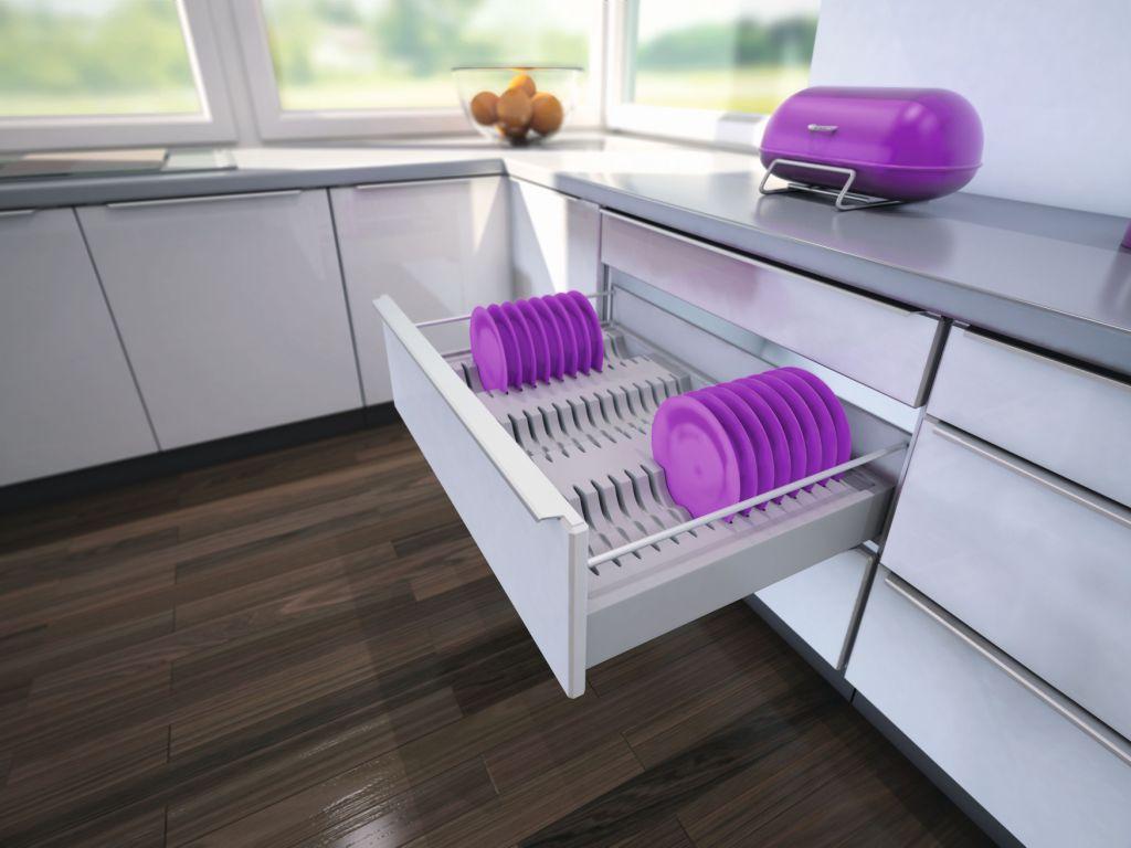 kuchnia, meble kuchenne, szuflady, Wkład do szuflady na talerze