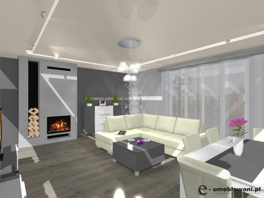 salon, kuchnia, wnętrze biało-szare, kominek, stół, ściana ozdobna